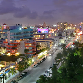 Ocean Drive by night by Aleksey Maksimov - City,  Street & Park  Street Scenes ( street, miami, night, evening, ocean drive )