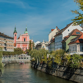 by Mario Horvat - City,  Street & Park  Vistas ( sky, sunny, slovenia, trees, ljubljana, river )