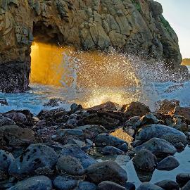 Keyhole Arch by Claus Dahm - Landscapes Sunsets & Sunrises ( boulders, keyhole arch, big sur, california, sunset, keyhole, low tide, rock, beach, pfeiffer beach,  )