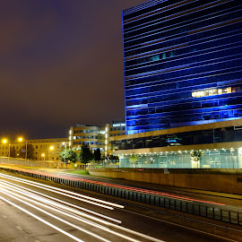 Vilnius city by Auksė Mikšytė - Abstract Light Painting ( building, light painting, cars, night, light, city )