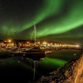 Boats and Aurora by Jens Andre Mehammer Birkeland - Transportation Boats ( reflection, aurora borealis, aurora, boats, sea, house, boat, light, norway )