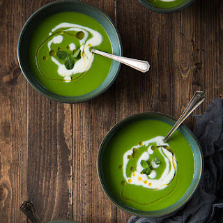 English Pea Soup with Lemon Creme Fraiche