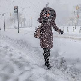 New York Snow Blizzard by Anatoli Mikitanski - City,  Street & Park  Street Scenes ( winter, street, snow, people, usa,  )