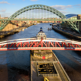 Tyne Bridge and Swing Bridge over the River Tyne by Graham Dobson - Buildings & Architecture Bridges & Suspended Structures ( high level, high level bridge, newcastle, bridge, swing bridge )