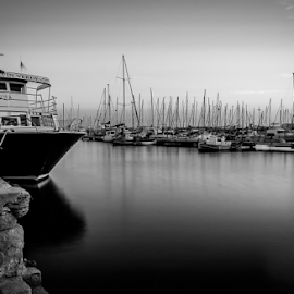 Marina by Paul Phull - Black & White Street & Candid ( marina, black and white, sea, boat, night photography )