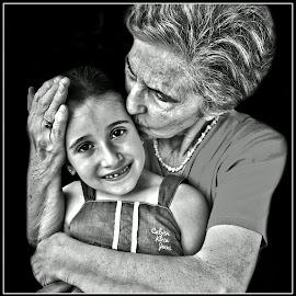 Grandma and granddaughter by Darko Kordic - Black & White Portraits & People