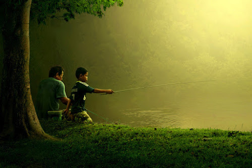 mancing bersama ayah by Ipoenk Graphic - Digital Art People ( human interest )