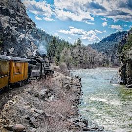 Durango Bound by Paulo Peres - Transportation Trains ( ride, mountains, colorado, train, tracks, river )