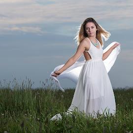 Back-lite beauty  by Matt Twentytwo - People Portraits of Women ( field, flash, beautiful, white dress, lady, young )