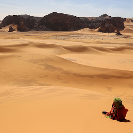 Alone In The Sahara by Omar Dakhane - Landscapes Deserts ( dunes, north africa, desert, arab, tuareg, sahara desert, travel, landscape, mountains, nature, algeria, sahara, africa, alone, man )