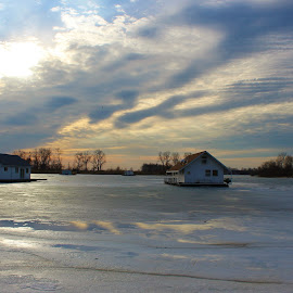 Houseboats on Ice by Carolyn Taylor - Buildings & Architecture Homes