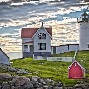 Nubble Light HDR by Tom Whitney - Travel Locations Landmarks ( nubble, hdr, maine, lighthouse, neddick )