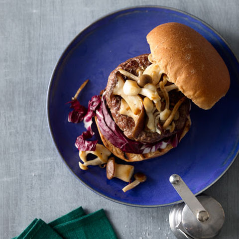 Burger With Mushrooms and Radicchio