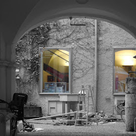 through the window by Miroslav Bičanić - City,  Street & Park  Neighborhoods ( ladder, yard, window, passage, view, works )