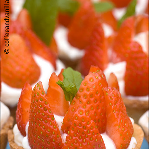 Mini Strawberry Tarts with Whipped Cream & Mint