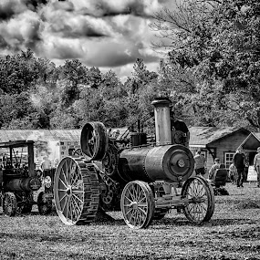 Steam Tractor by Scott Bryan - Black & White Macro ( sky, tractor, monochrome, neat, black and white, landscape )