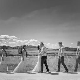 Moment by Gábor Veres - Wedding Bride & Groom ( clouds, kiss, hug, black and white, wedding )