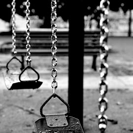 Soggy Bottom by Justin Lee - City,  Street & Park  City Parks ( monochrome, park, black and white, swings, chains, side view, deserted, park scene, damp, justin adam lee, chain, empty, wet, swing )