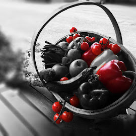 Red by Sean Laffan - Food & Drink Fruits & Vegetables ( color, black and white, food, basket, fruits and vegetables )