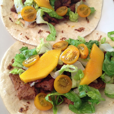 Soy Lime Seitan Tacos with Mango and Chipotle Aioli