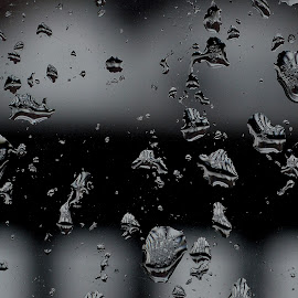 Water on window pane. by Govindarajan Raghavan - Black & White Abstract