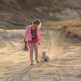 Little girl with dog by Lize Hill - Babies & Children Child Portraits
