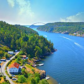 Strømstad  by Hemin Ahmed - City,  Street & Park  Vistas ( sky, boats, trees, water, sea )