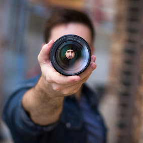 Through The Lens by Kyle Re - Artistic Objects Glass ( contrast, hand, macro, fineart, bright, color, perspective, focus, vibrant, light, people, lens, city,  )
