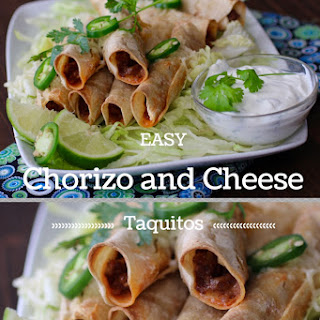 Easy Chorizo and Cheese Taquitos with Cilantro Lime Sour Cream