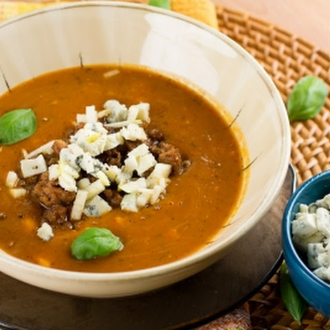 Butternut Squash Soup with Roasted Peppers, Gorgonzola and Italian Sausage