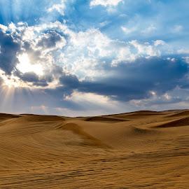 Desert by Péter Mocsonoky - Landscapes Deserts ( sky, dry, desert, nature, blue, wempty )