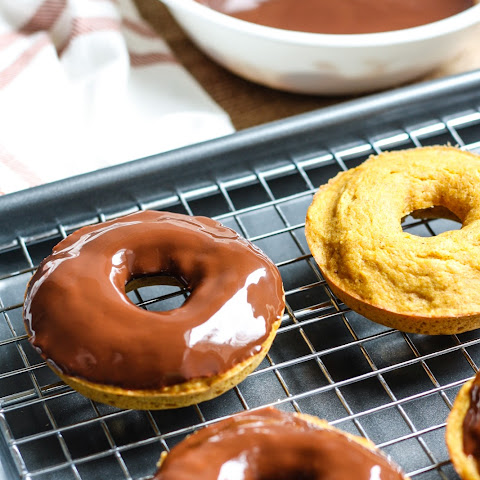 Whole Wheat Pumpkin Donuts [with chocolate glaze]