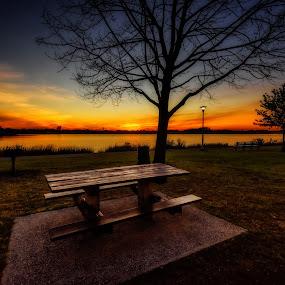 Sunset by Linda Karlin - City,  Street & Park  Vistas ( sunset, long island, landscape )