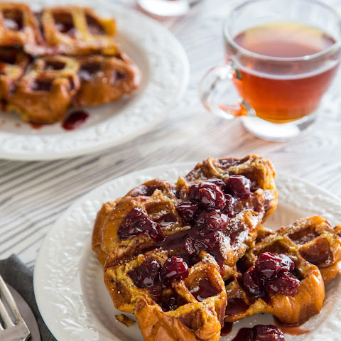 French Toast Waffles with Tart Cherry Syrup