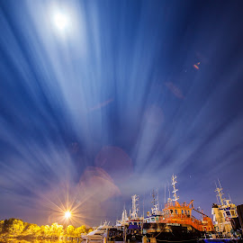 Duck Pond by David Millard - Landscapes Cloud Formations ( water, reflection, duck pond, bay, boats, streaks, frances, cloud, night, marina )
