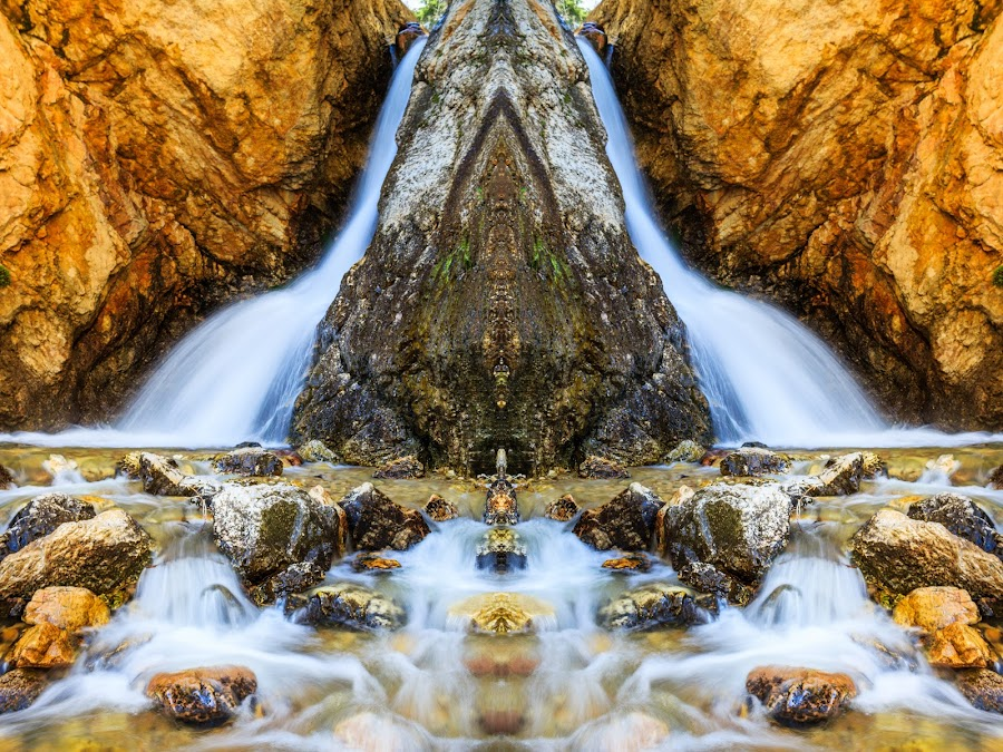 Hidden Falls by Brandon Montrone - Digital Art Places ( water, mirror, abstract, reflection, mountain, waterfall, art, fine art, long exposure, symmetry, landscape )