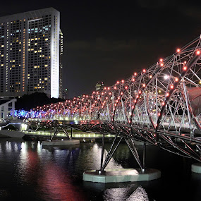 Helix Bridge & Ritz-Carlton/Pan Pacific Night by Alan Chew - Buildings & Architecture Bridges & Suspended Structures ( helix brdige, alanc, ritz-carlon/pan paific hotels, marina bay, , Lighting, moods, mood lighting )