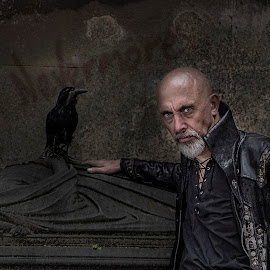 by Anthony Wood - People Portraits of Men ( raven, edgar allan poe, nevermore, poetry, period )