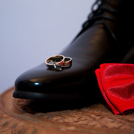 shoes by Raluca Bălan - Artistic Objects Clothing & Accessories ( shoes, red, tie, rings, black,  )