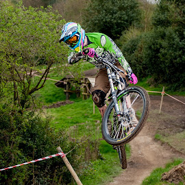 by Nick Moor - Sports & Fitness Cycling ( gap jump, down hill, dh, mtb, racing, mountain bike, whip, jump )