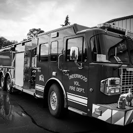 3000 gallon pumper tanker B&W by Gary Wahle - Transportation Other ( firefighter, pumper, tanker, fire truck,  )
