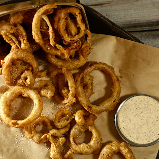 Crazy-Crisp Cajun Onion Rings with Spicy Mustard Aioli