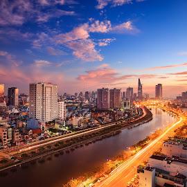 Good morning Saigon by Dung Pham - City,  Street & Park  Street Scenes ( building, street, vietnam, cityscape, saigon, landscape, light )