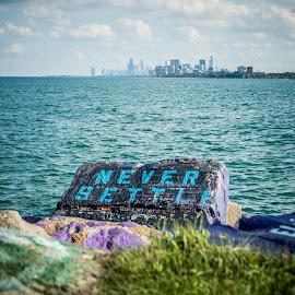 Never Settle, Follow Your Dreams by T Sco - City,  Street & Park  City Parks ( northwestern, university, graffiti, rock, evanston, chicago )
