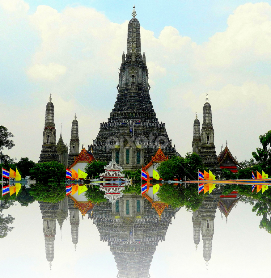 Temple of the Dawn by PINAKI MITRA - Buildings & Architecture Places of Worship ( bangkok, buddhist temple, temple of the dawn, reflection, wat arun, thailand, chao phraya river )
