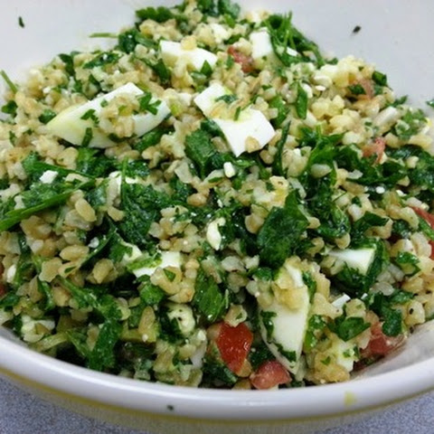 Tabbouleh with Hard Boiled Eggs and Feta