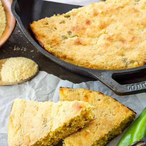 Skillet Cheddar and Green Chile Cornbread
