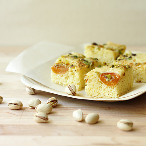 Apricot Cake with Aged Cheese and Pistachio Nuts