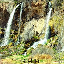 Three Falls by Rob Bradshaw - Landscapes Waterscapes ( landscapes, waterfalls, three falls, waterscapes, rifle falls, bridge, park )