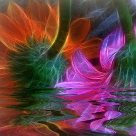Gerbera Abstract by Millieanne T - Digital Art Abstract